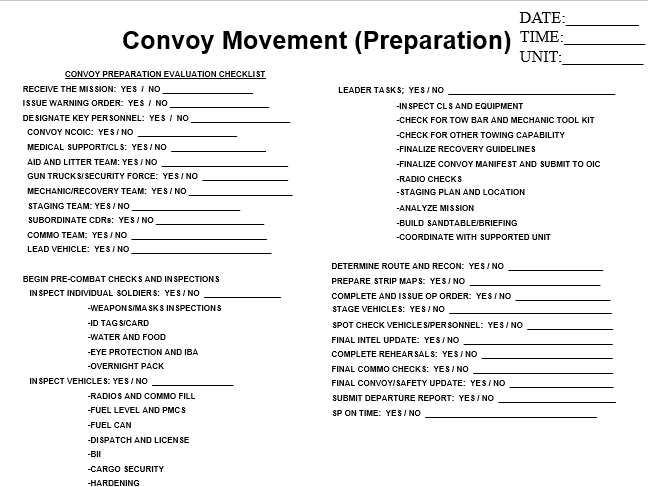 Convoy Checklist Preparation