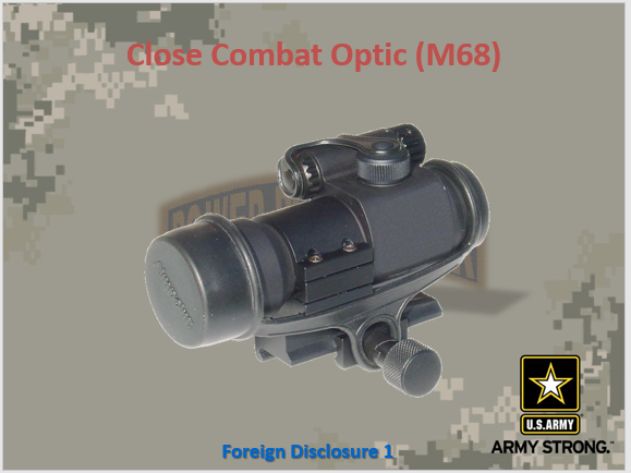 A power point class on the M68 close combat optic