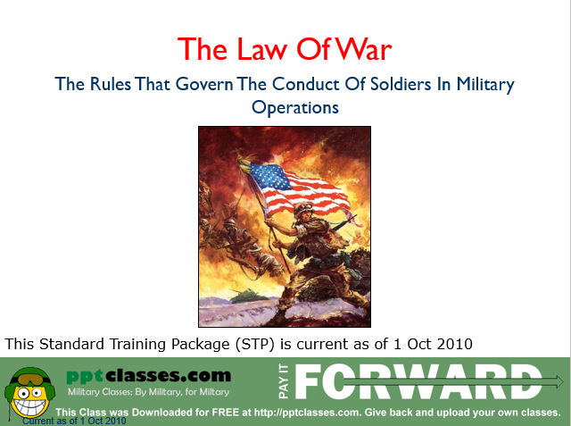 A power point class lesson plan on the law of war STP