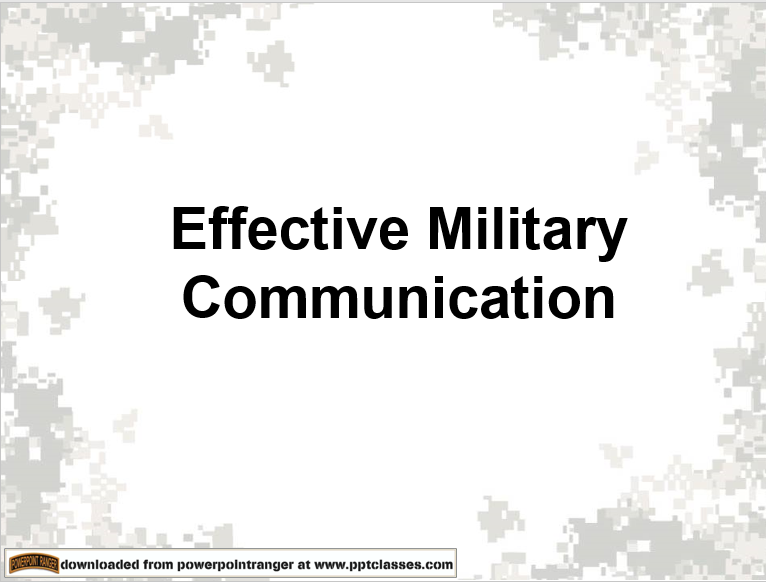 Effective Military Communication Version II