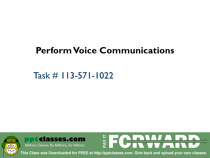 Perform Voice Communications I
