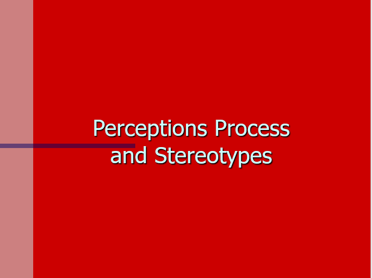 Equal Opportunity Perception and Stereotypes Briefing