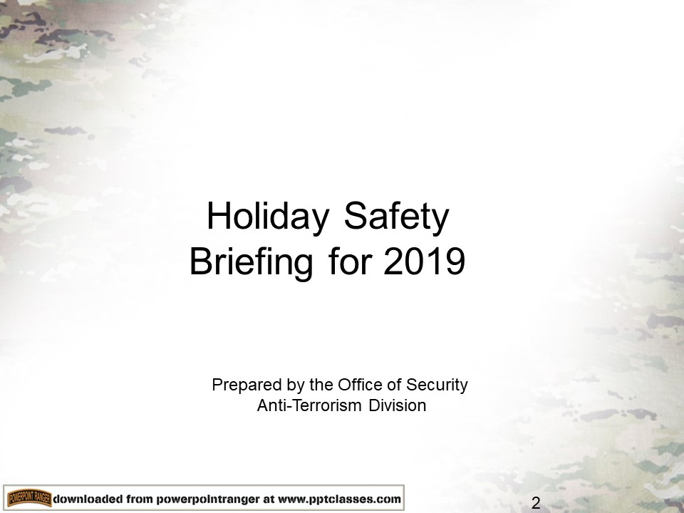 Holiday Safety Briefing for 2019
