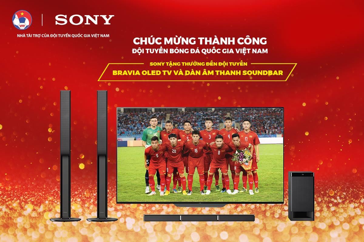 Sony Việt Nam tặng TV OLED và Dàn âm thanh Soundbar cho cả Đội tuyển VN