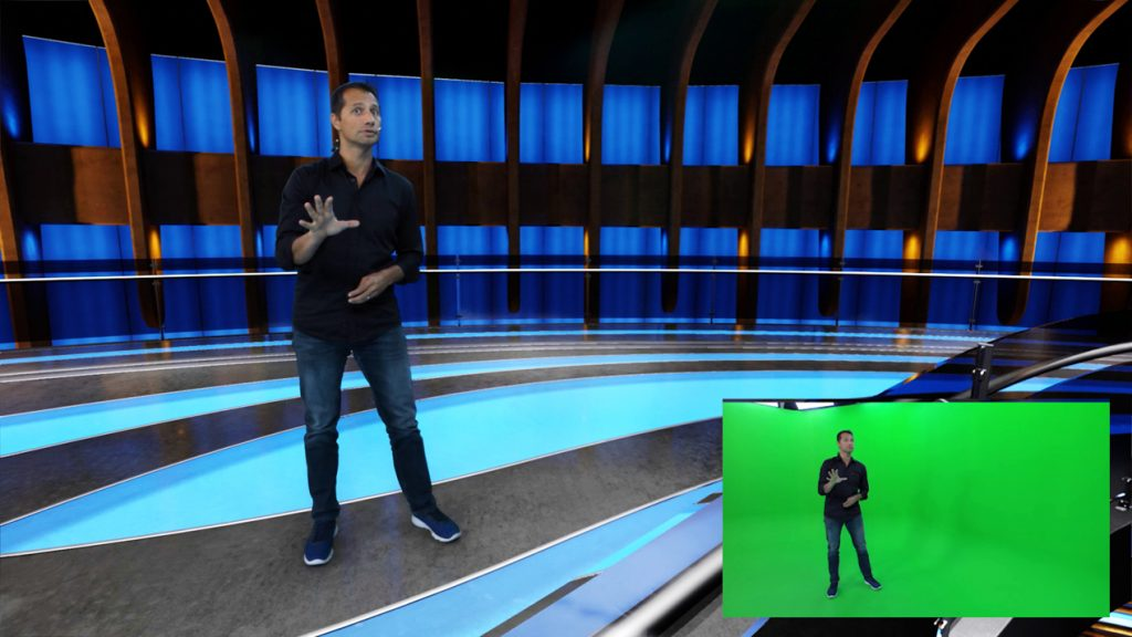 free-d application image green screen man