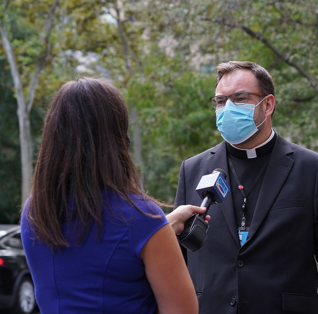 desales media speaks with reporters