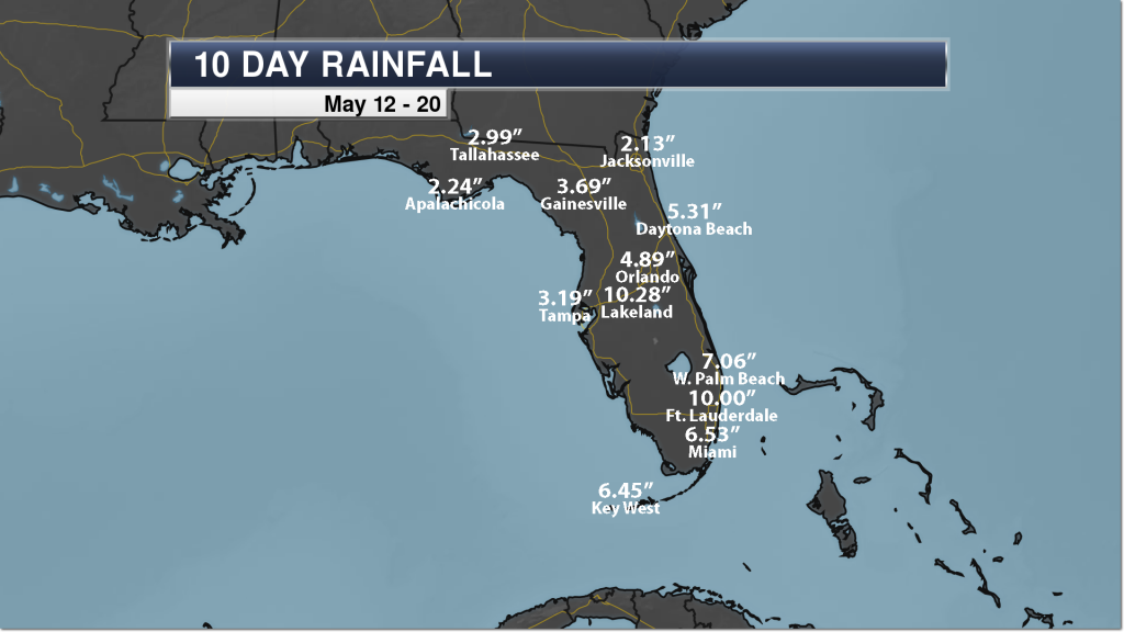 Florida Past 10 Day Heavy Rain - Weather Automated Graphics