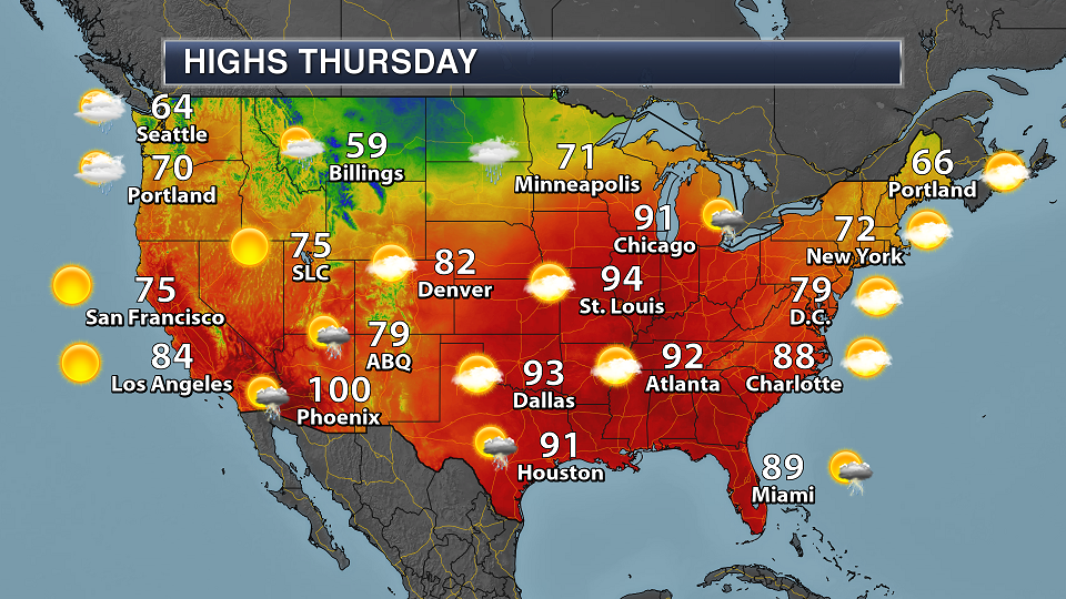 Thursday National Weather Outlook - Heavy Rain And Severe ...