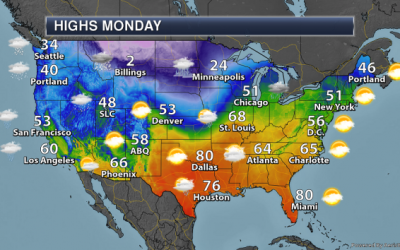 Monday Weather Outlook – Heavy Snow Expected Out West