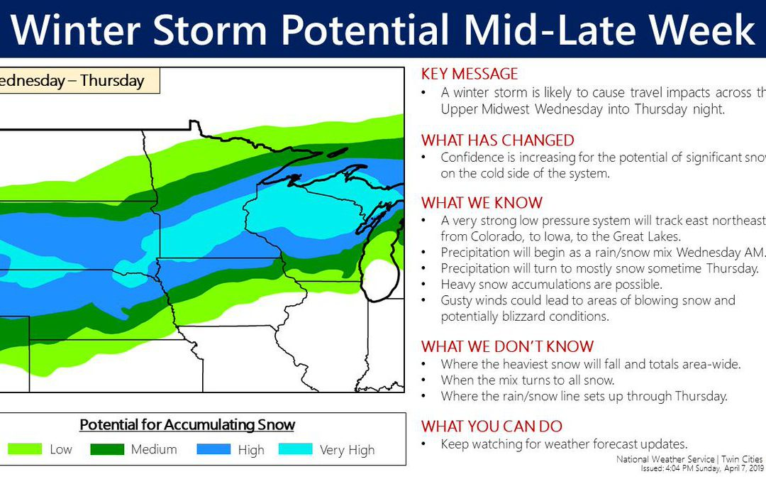 Possible Midwest Snowstorm This Week – Monday's National Weather Outlook For April 8th, 2019