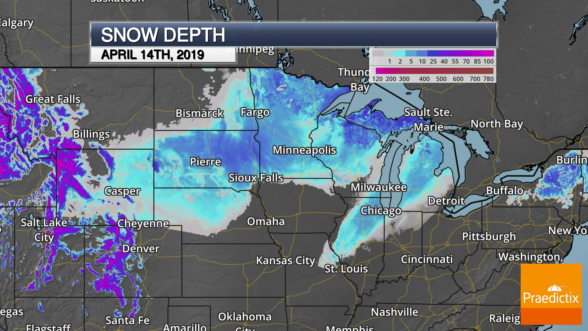 snow depth of midwest on april 14, 2019 after the april 2019 blizzard on a dark map