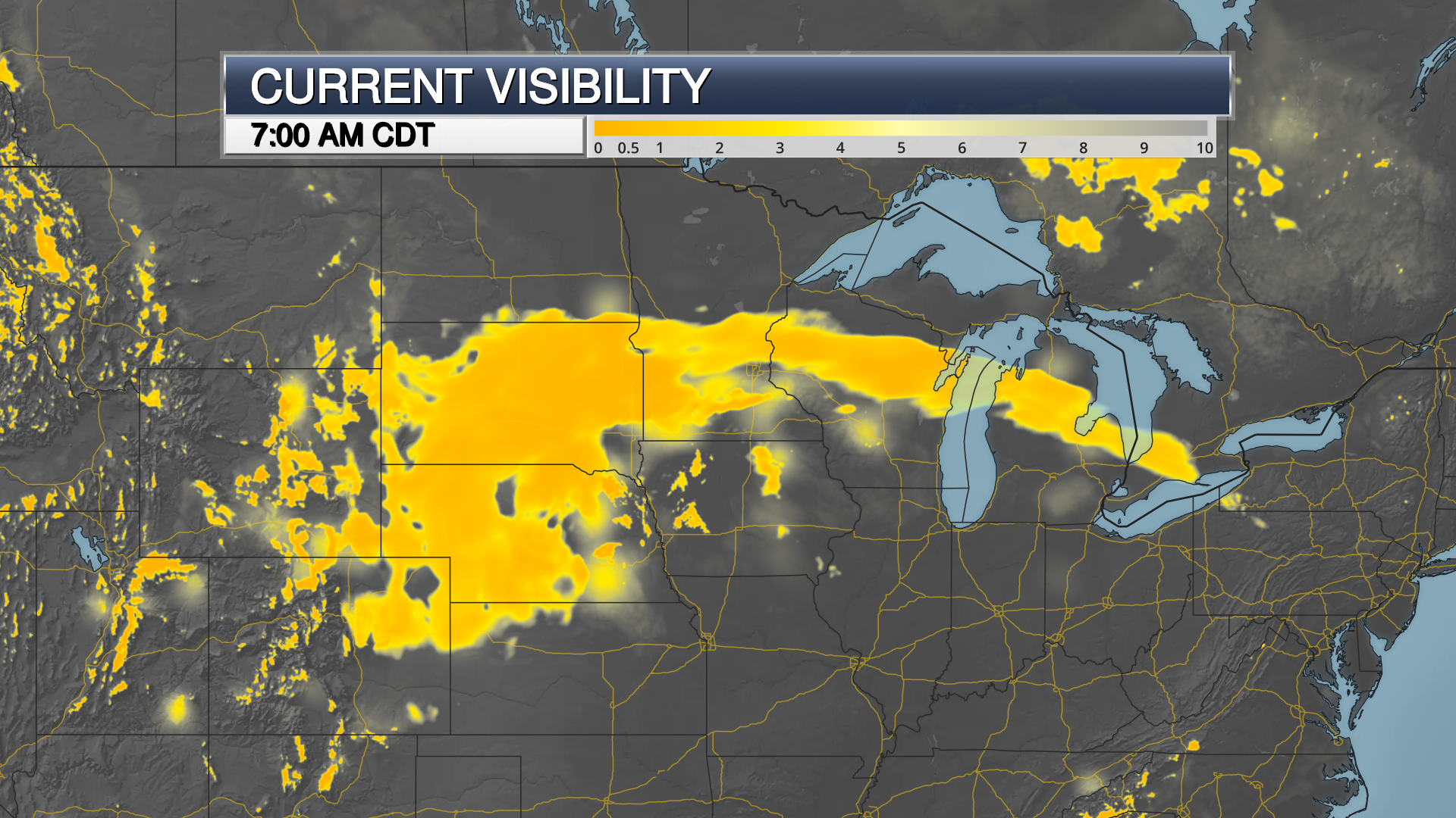 weather visibility map from april 11, 2019 from april 2019 blizzard in northern plains and Midwest on a dark map