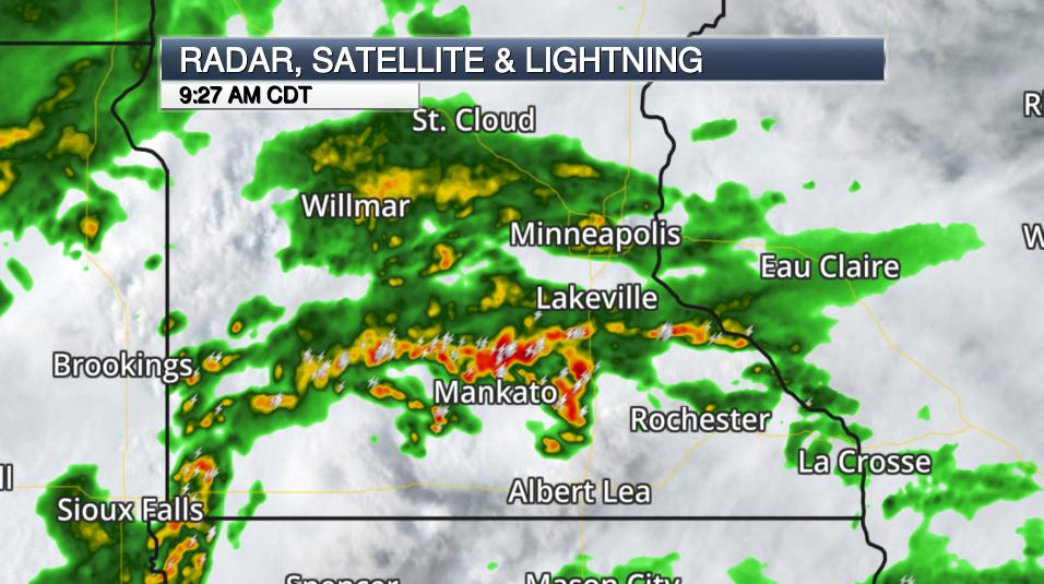 weather map of satellite radar and lightning in southern Minnesota
