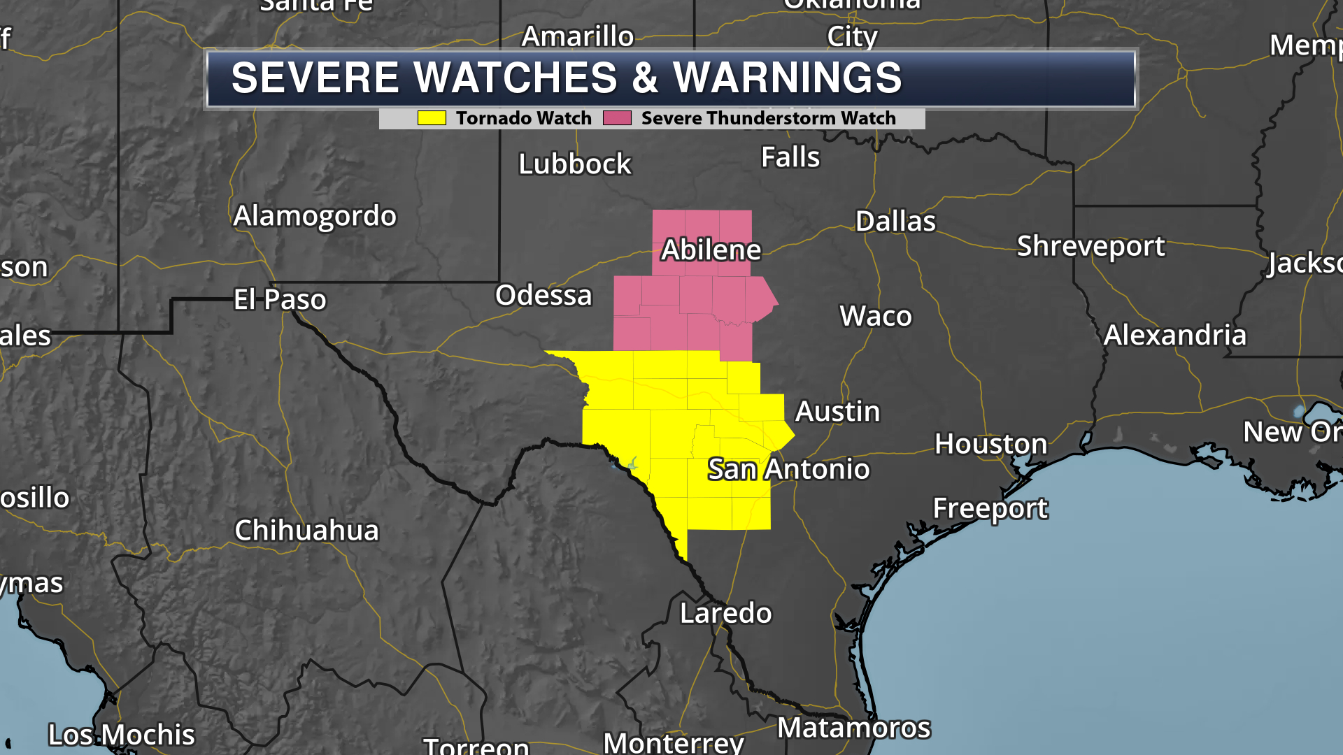 Severe Thunderstorm Watch and Tornado Watch in Texas with legend on dark map