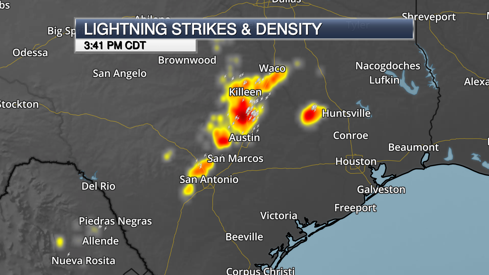 lightning density and lightning strike weather map on dark background