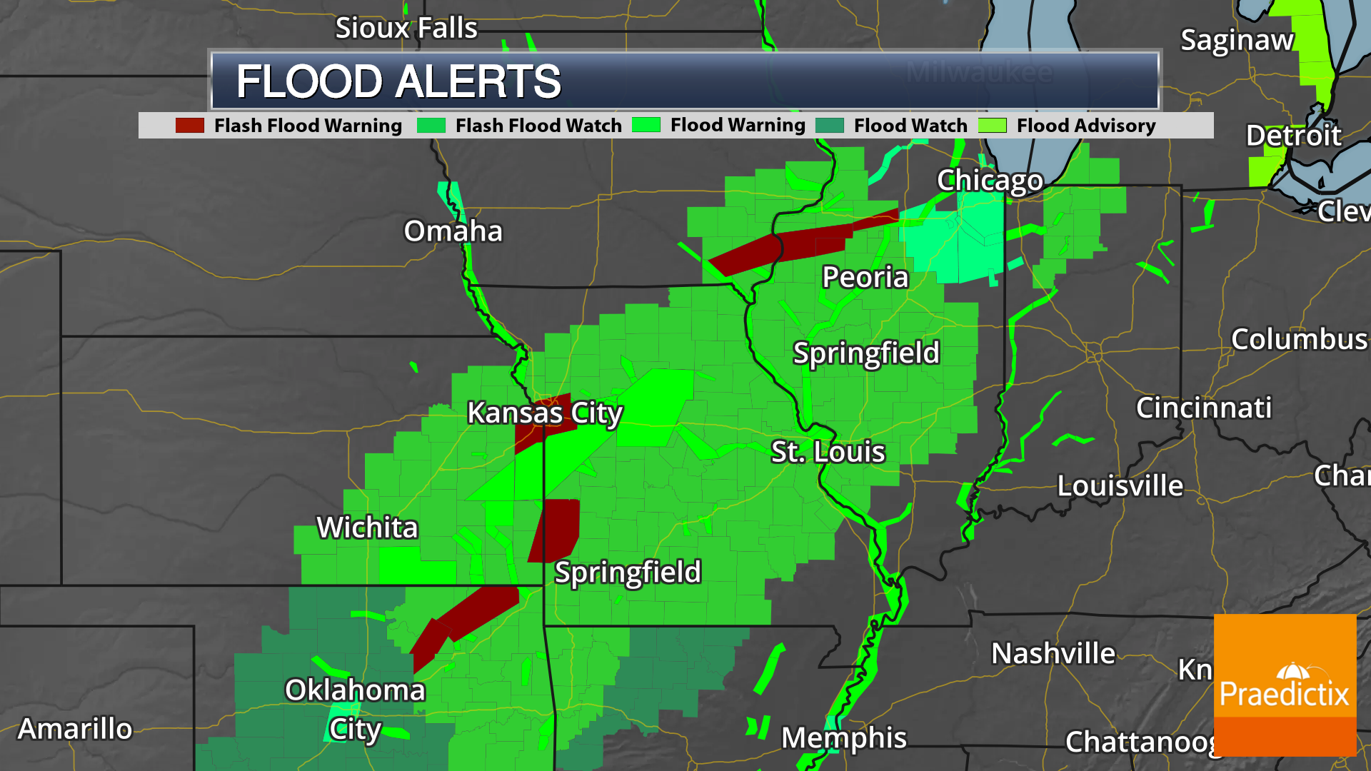 Flood weather graphics showing flood warnings watches and advisories including flash flooding in Central Plains from April 30, 2019.