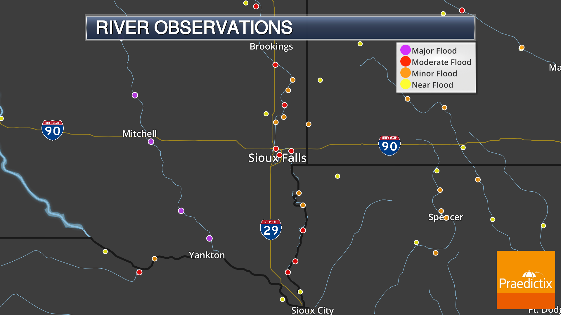 Flood weather graphic of river observations at flood stage in Sioux Falls, South Dakota in May 2019.