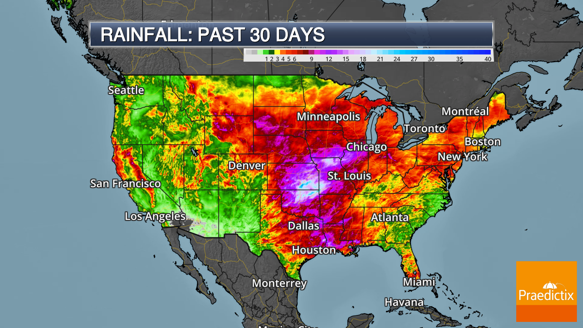 Weather map showing past 30 day rainfall in the United States with legend. AHPS.