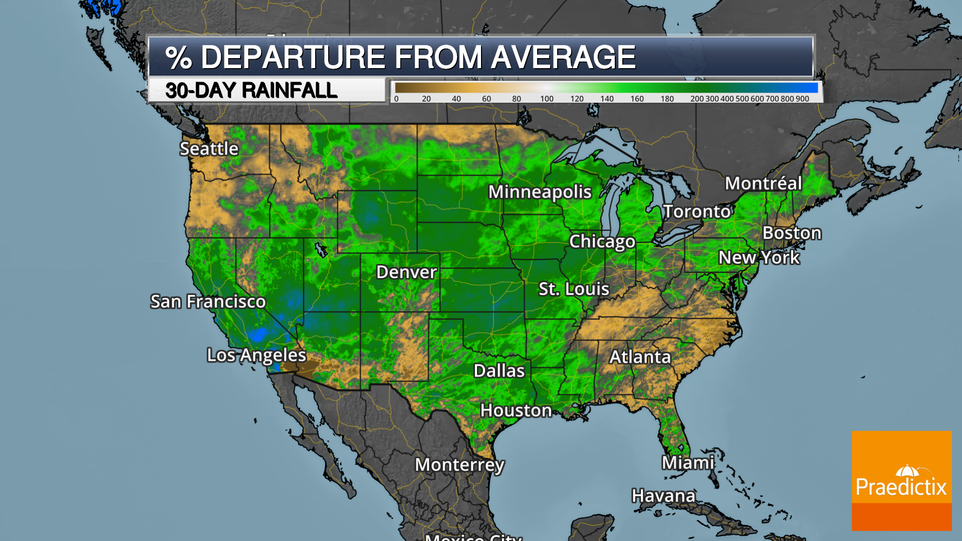 weather graphic showing percentage departure from average of 30 day rain in the United States with legend on dark map.