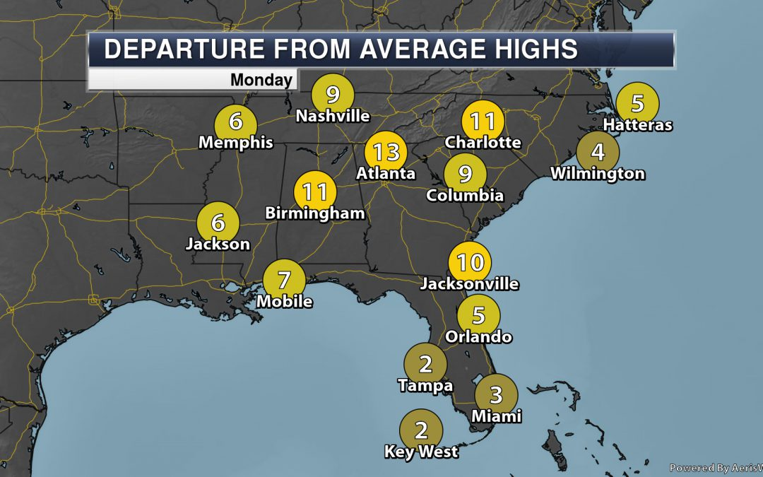 Record Highs Possible In The Southeast Monday – – National Weather Outlook For Monday, September 9th, 2019