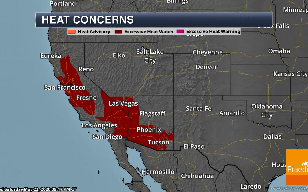 Heat Builds In The Southwest To End May – National Weather For Sunday, May 24, 2020