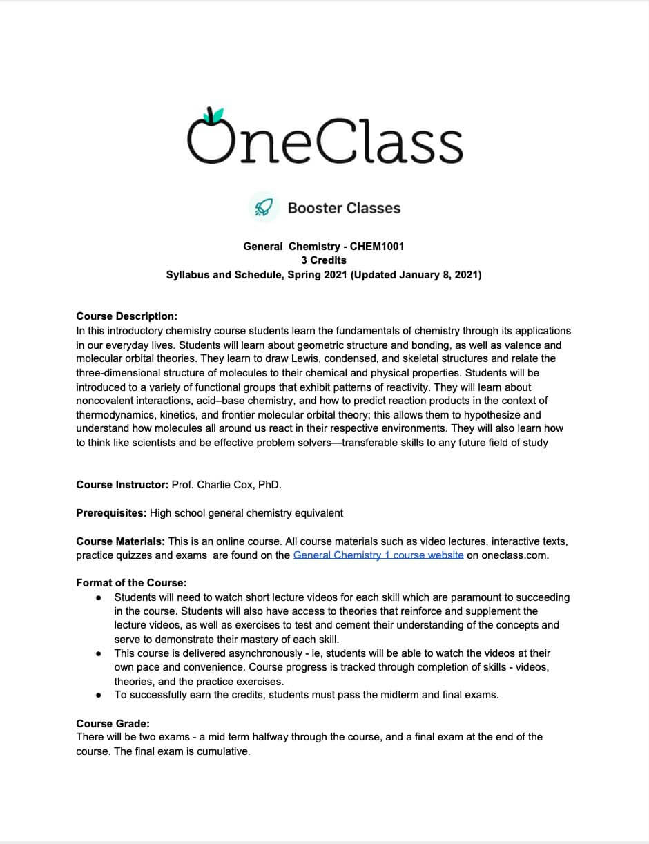 Syllabus for Introduction to Chemistry/General Chemistry 1
