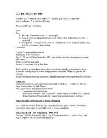 ESS102H1 Lecture Notes - Fall 2011, - Convection Cell