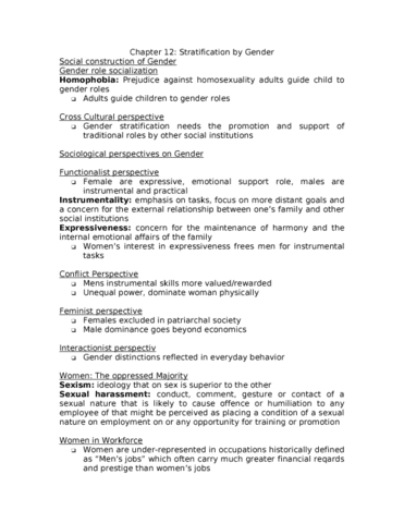 Sociology Chapter 12 doc - OneClass