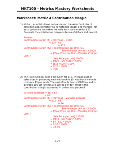 Metrics 4 metrics mastery worksheets with answersc oneclass ibookread Read Online