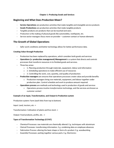 MGTA02H3 Chapter Notes - Chapter 1: Dxc Technology, Master Production  Schedule, Operations Plan