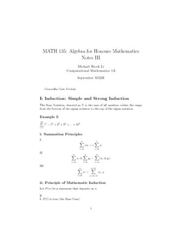 MATH 135 Algebra Notes III (Sept 23 - Sept 27): Inductions, (little ...