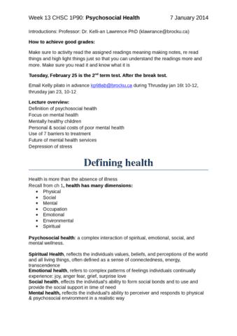 psycho-social-health-week-13