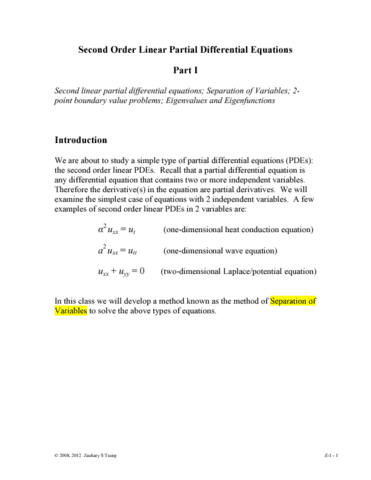 MATH 251 Lecture Notes - Partial Differential Equation, Initial Value  Problem, Boundary Value Problem