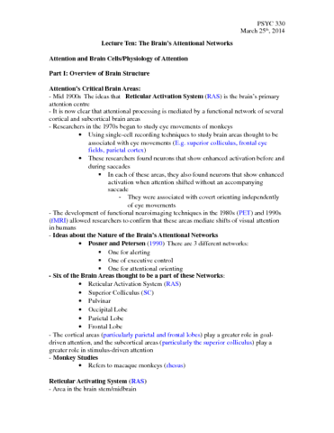 psyc-330-lecture-10-the-brain-s-attentional-networks-march-25th-2014-docx