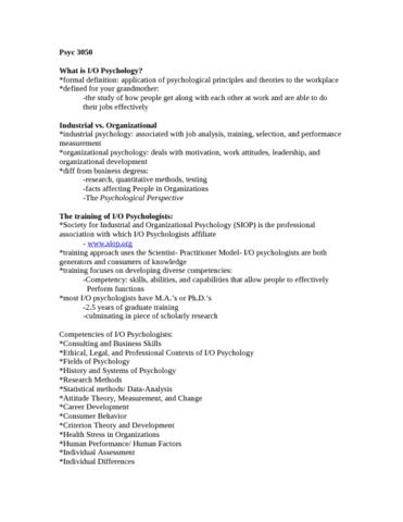 industrial-organization-psychology-notes