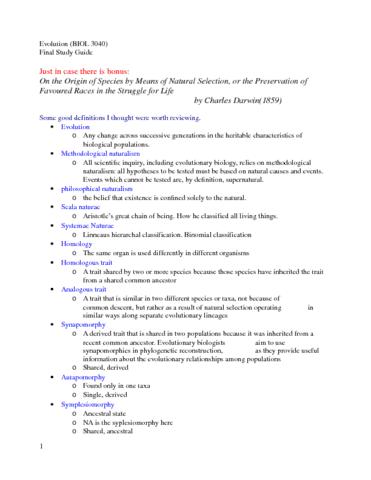 evolution-3040-final-study-guide