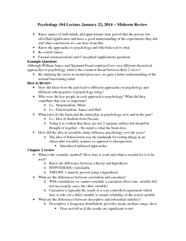 psychology-104-lecture-january-22-docx