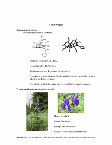 toxin-project-aconitine-compound-producing-organsim-pdf
