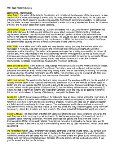 AMH 2020 Study Guide - Spring 2012, Midterm - John D