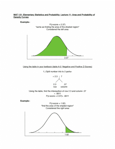 MAT 121- Elementary Statistics and Probabilities- Lecture 11: Area and  Probability of Density Curves