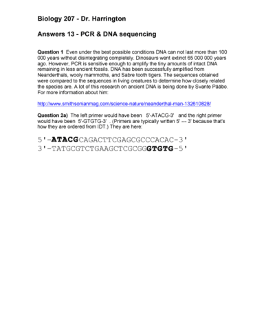 Pcr Worksheet Answerspdf Oneclass