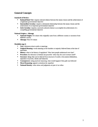 LAW 234A Exam Notes conlaw black letter law got over 90% in