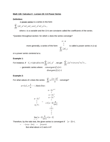 MATH 126 Lecture Notes - Lecture 20: Alternating Series Test, Ratio Test,  Bessel Function