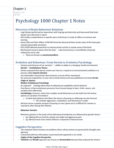 Psychology 1000 Lecture 1: TheGreatPsychNotes pdf