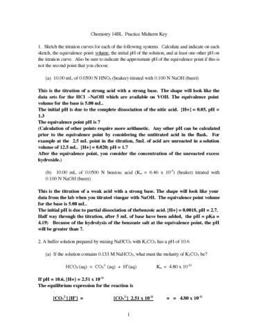 CHEM 14BL Exam Notes: CHEM 14BL Midterm: Midterm Review Worksheet ...
