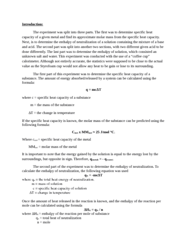 enthalpy lab report Lab report: pressure temperature volume lab report: pressure temperature volume 1453 words oct 16th, 2012 6 pages exploring gas laws-  enthalpy lab report essay.