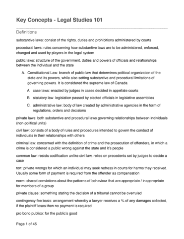 legal studies summary notes