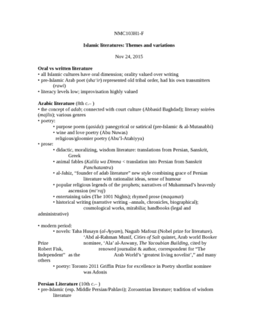 NMC103H1 Lecture Notes - Lecture 20: Panchatantra, Persian Literature,  Qasida