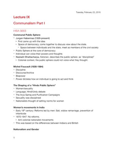 hisa-3003-lecture-9-communalism-part-i