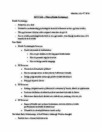 psyc-2301-lecture-1-what-is-health-psychology-jul-4-2016